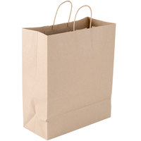 Duro Traveler 13 inch x 6 inch x 15 3/4 inch Brown Shopping Bag with Handles - 250/Bundle