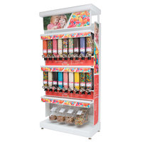 Rosseto GK1021 Bulkshop Free Standing Candy Merchandising Gondola with Canisters and Scoop Bins - 50 inch x 25 13/16 inch x 108 inch