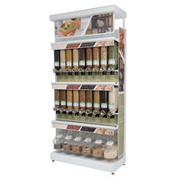 Rosseto GK1031 Bulkshop Free Standing Natural Foods Merchandising Gondola with Canisters and Scoop Bins - 50 inch x 25 13/16 inch x 108 inch
