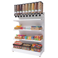 Rosseto GK2204 Bulkshop White Free Standing Merchandising Gondola with Canisters and Shelving - 50 inch x 25 13/16 inch x 82 inch