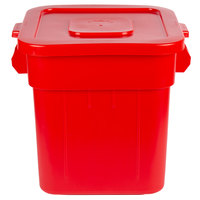 Continental Huskee 32 Gallon Square Red Trash Can and Lid