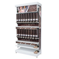 Rosseto GK1111 Bulkshop Free Standing Coffee Merchandising Gondola with Canisters - 50 inch x 25 13/16 inch x 108 inch