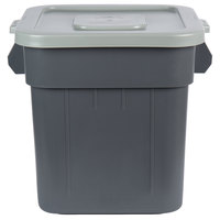 Continental Huskee 32 Gallon Square Gray Trash Can and Lid