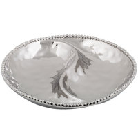Pampa Bay CER-1724-SV Verona 13 1/4 inch Silver Titanium-Plated Porcelain 2-Compartment Round Bowl