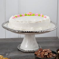 Pampa Bay CER-1196-W Salerno 11 inch x 5 inch White Titanium-Plated Porcelain Round Cake Stand