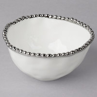 Pampa Bay CER-1717-W Salerno 14 oz. White Titanium-Plated Porcelain Round Bowl