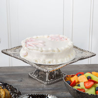 Pampa Bay CER-1195-SV Verona 11 inch x 5 inch Silver Titanium-Plated Porcelain Square Cake Stand