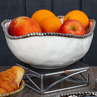 Pampa Bay CER-1721-W Salerno 3 Qt. White Titanium-Plated Porcelain Round Bowl