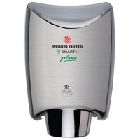 World Dryer K4-973P2 SMARTdri Plus Brushed Stainless Steel Surface-Mounted Hand Dryer - 208-240V, 1250W