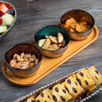 Pampa Bay WB-012-SET Let's Entertain 5.8 oz. Titanium-Plated Glass Bowl Set with Wood Tray