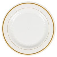 WNA Comet MP6IPREM 6 inch Ivory Masterpiece Plastic Plate with Gold Accent Bands - 15 / Pack