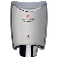 World Dryer K4-973A2 SMARTdri Brushed Stainless Steel Surface-Mounted Hand Dryer - 208-240V, 1250W