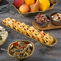 Pampa Bay CER-1150-GD Monaco 14 inch x 3 inch Gold Titanium-Plated Porcelain Oblong Cracker Tray
