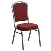 Flash Furniture NG-C01-HTS-2201-SV-GG Hercules Burgundy Pattern Fabric Crown Back Stackable Banquet Chair with Silver Vein Frame