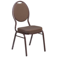 Flash Furniture FD-C04-COPPER-008-T-02-GG Hercules Brown Pattern Fabric Teardrop Back Stackable Banquet Chair with Copper Vein Frame