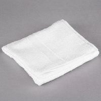 Oxford Silver 16 inch x 27 inch White Open End Cotton / Poly Hand Towel 3 lb. - 12/Pack