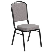 Flash Furniture FD-C01-B-5-GG Hercules Gray Fabric Crown Back Stackable Banquet Chair with Black Frame