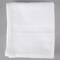 Oxford Silver 16 inch x 27 inch White Open End Cotton / Poly Hotel Hand Towel 3 lb. - 300/Case