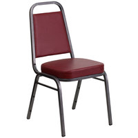 Flash Furniture FD-BHF-1-SILVERVEIN-BY-GG Hercules Burgundy Vinyl Trapezoidal Back Stackable Banquet Chair with Silver Vein Frame and 2 1/2 inch Thick Cushion