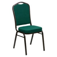 Flash Furniture FD-C01-GOLDVEIN-GN-GG Hercules Green Fabric Crown Back Stackable Banquet Chair with Gold Vein Frame
