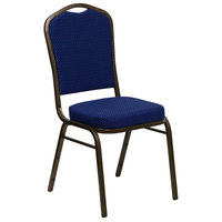 Flash Furniture FD-C01-GOLDVEIN-208-GG Hercules Navy Blue Pattern Fabric Crown Back Stackable Banquet Chair with Gold Vein Frame