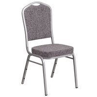 Flash Furniture FD-C01-S-12-GG Hercules Herringbone Fabric Crown Back Stackable Banquet Chair with Silver Frame