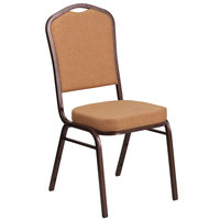 Flash Furniture FD-C01-C-4-GG Hercules Light Brown Fabric Crown Back Stackable Banquet Chair with Copper Vein Frame