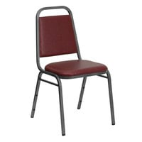 Flash Furniture FD-BHF-2-BY-VYL-GG Hercules Burgundy Vinyl Trapezoidal Back Stackable Banquet Chair with Silver Vein Frame and 1 1/2 inch Thick Cushion