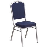 Flash Furniture FD-C01-S-2-GG Hercules Navy Blue Fabric Crown Back Stackable Banquet Chair with Silver Frame