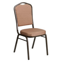 Flash Furniture FD-C01-GOLDVEIN-GO-GG Hercules Gold Diamond Fabric Crown Back Stackable Banquet Chair with Gold Vein Frame