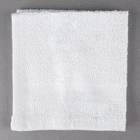 Hotel Wash Cloth - Oxford Silver 12 inch x 12 inch White Open End Cotton / Poly 1 lb. - 600/Case