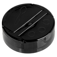 Choice Black Dual-Flapper Pour / Shake Spice Container Lid with a 53/485 Finish