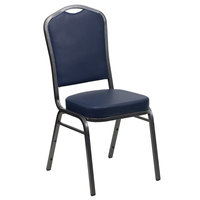 Flash Furniture FD-C01-SILVERVEIN-NY-VY-GG Hercules Navy Blue Vinyl Crown Back Stackable Banquet Chair with Silver Vein Frame