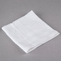 Hotel Wash Cloth - Oxford Silver 12 inch x 12 inch White Open End Cotton / Poly 1 lb. - 12/Pack