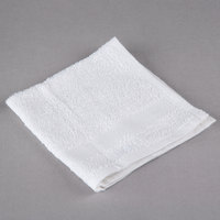 Oxford Silver 12 inch x 12 inch White Open End Cotton / Poly Hotel Wash Cloth 1 lb. - 12/Pack