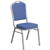 Flash Furniture FD-C01-S-7-GG Hercules Blue Fabric Crown Back Stackable Banquet Chair with Silver Frame