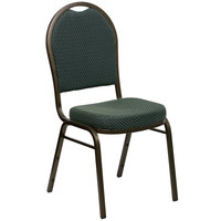 Flash Furniture FD-C03-GOLDVEIN-4003-GG Hercules Green Pattern Fabric Dome Back Stackable Banquet Chair with Gold Vein Frame