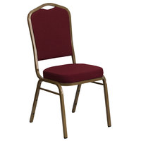 Flash Furniture FD-C01-ALLGOLD-3169-GG Hercules Burgundy Fabric Crown Back Stackable Banquet Chair with Gold Frame