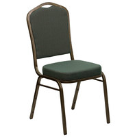 Flash Furniture FD-C01-GOLDVEIN-0640-GG Hercules Green Pattern Fabric Crown Back Stackable Banquet Chair with Gold Vein Frame