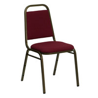 Flash Furniture FD-BHF-2-BY-GG Hercules Burgundy Fabric Trapezoidal Back Stackable Banquet Chair with Gold Vein Frame