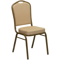 Flash Furniture FD-C01-ALLGOLD-H20124E-GG Hercules Beige Diamond Fabric Crown Back Stackable Banquet Chair with Gold Frame
