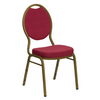 Flash Furniture FD-C04-ALLGOLD-2804-GG Hercules Burgundy Pattern Fabric Teardrop Back Stackable Banquet Chair with Gold Frame