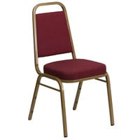 Flash Furniture FD-BHF-1-ALLGOLD-0847-BY-GG Hercules Burgundy Pattern Fabric Trapezoidal Back Stackable Banquet Chair with Gold Frame