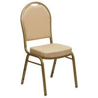 Flash Furniture FD-C03-ALLGOLD-H20124E-GG Hercules Beige Pattern Fabric Dome Back Stackable Banquet Chair with Gold Frame