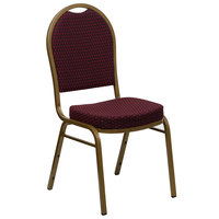 Flash Furniture FD-C03-ALLGOLD-EFE1679-GG Hercules Burgundy Pattern Fabric Dome Back Stackable Banquet Chair with Gold Frame