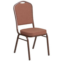 Flash Furniture FD-C01-COP-1-GG Hercules Brown Fabric Crown Back Stackable Banquet Chair with Copper Vein Frame