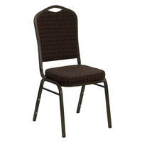 Flash Furniture NG-C01-BROWN-GV-GG Hercules Brown Pattern Fabric Crown Back Stackable Banquet Chair with Gold Vein Frame