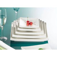CAC TOK-21 Tokyia 11 1/2 inch Bone White Square Thick Porcelain Plate - 8/Case