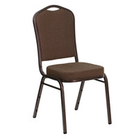 Flash Furniture FD-C01-COPPER-008-T-02-GG Hercules Brown Pattern Fabric Crown Back Stackable Banquet Chair with Copper Vein Frame