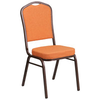 Flash Furniture FD-C01-C-9-GG Hercules Orange Fabric Crown Back Stackable Banquet Chair with Copper Vein Frame